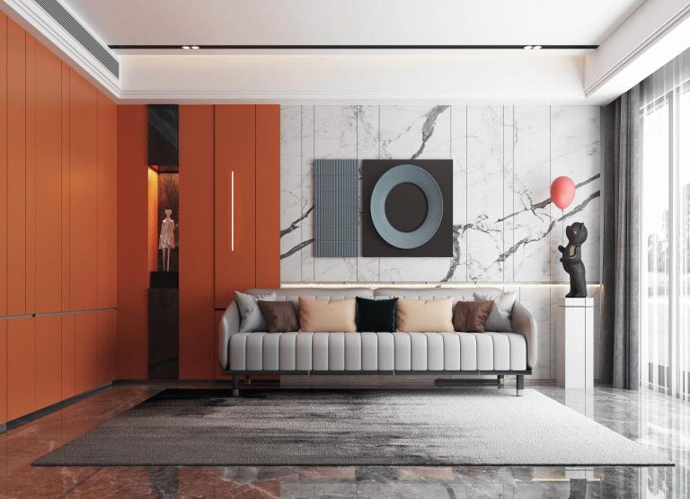 爱马仕橙+鱼肚白装修风格木门墙板效果图