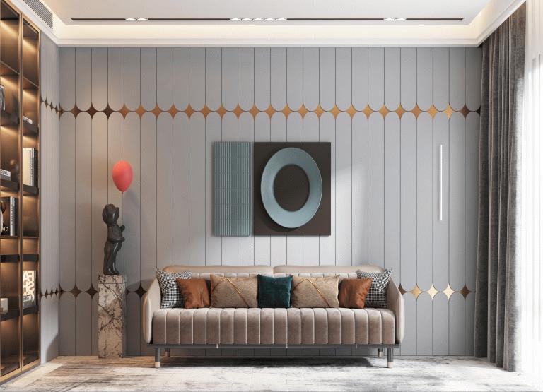 贝尔加灰+金属色装修风格木门墙板效果图