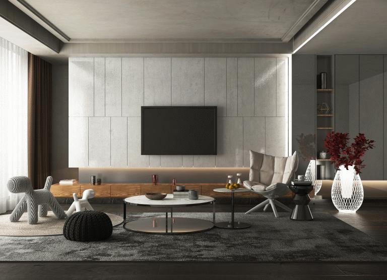 PET白+灰装修风格木门墙板效果图