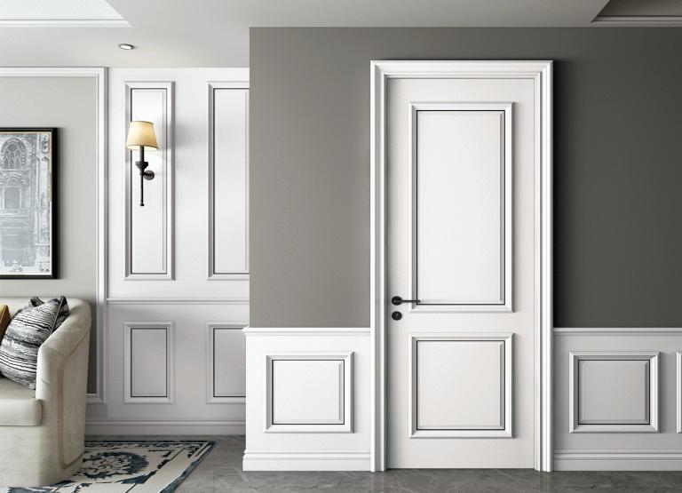 金属条镶嵌门扇装修风格木门墙板效果图